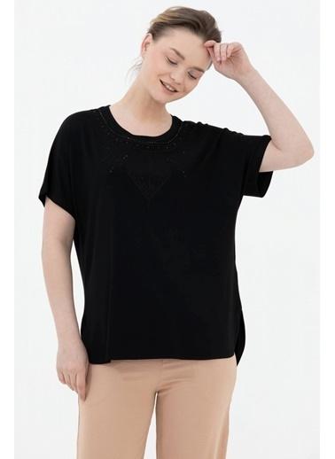 Sementa Arkası Uzun Nakışlı Geniş Kalıp Taşlı Bluz - Siyah Siyah